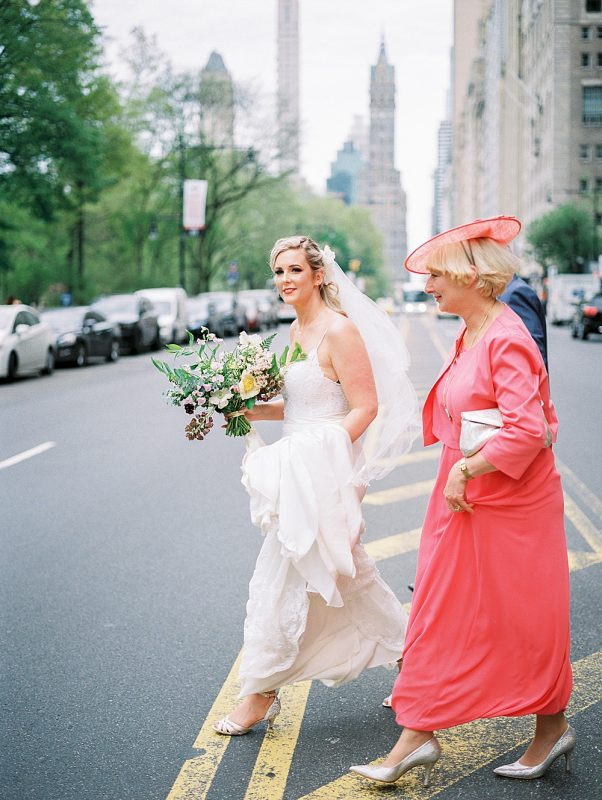Intimate Central Park wedding bride crossing street
