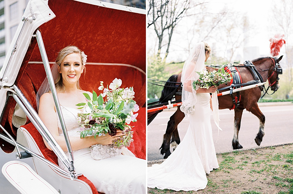 Intimate Central Park wedding bride with horse and carriage
