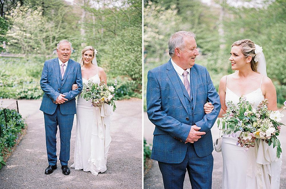 Intimate Central Park wedding bride and father