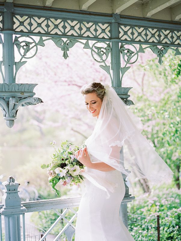 Intimate Central Park wedding bride at Ladies Pavilion