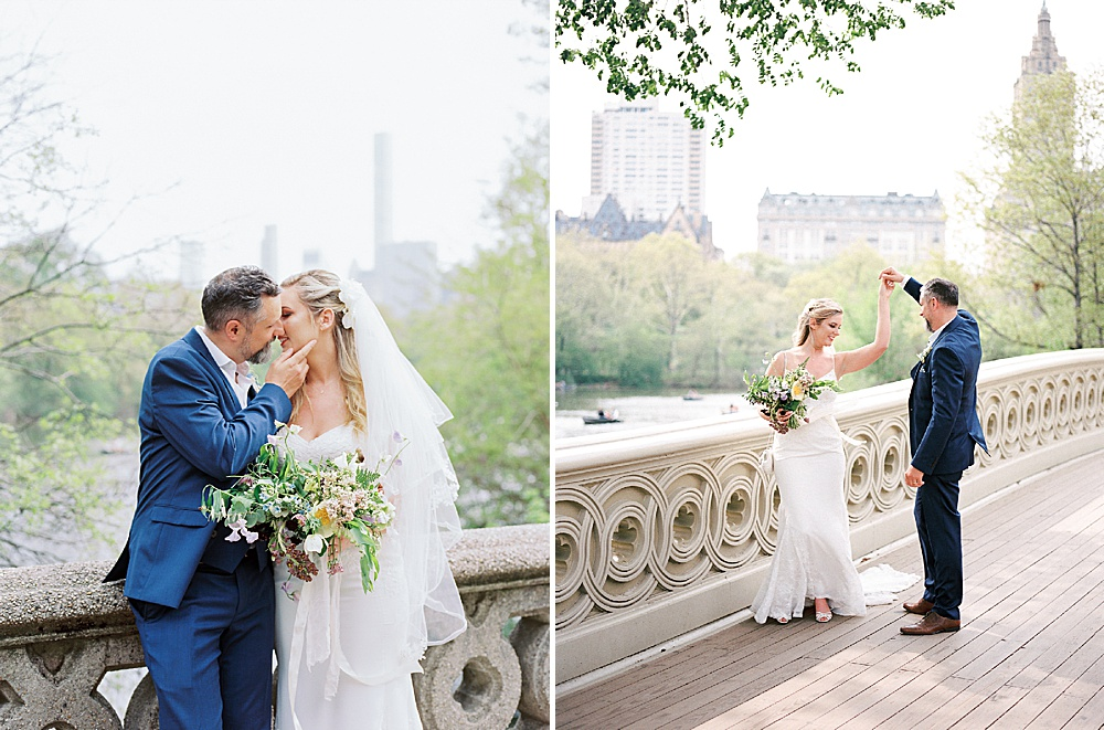 Intimate Central Park wedding Bow Bridge