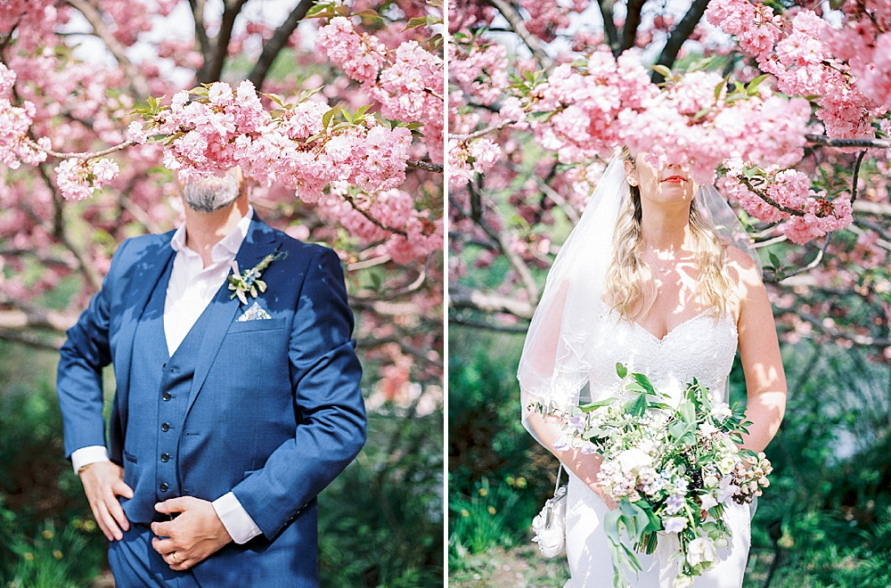 Intimate Central Park wedding cherry blossoms
