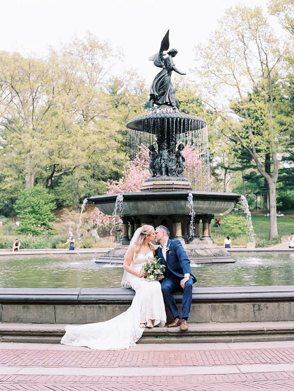 Intimate Central Park wedding Bethesda Fountain